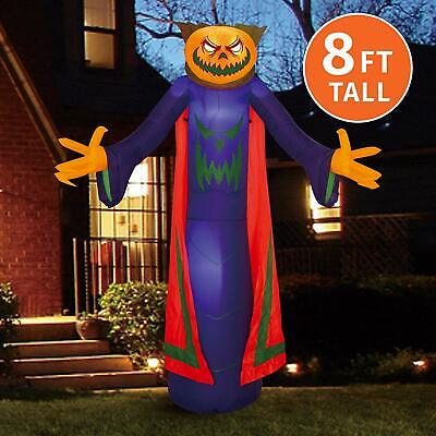 Joiedomi Halloween 8 FT Inflatable Pumpkin Wizard with Build-in LEDs Blow Up ...