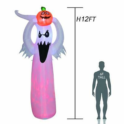 GOOSH 12 Foot Tall Halloween Inflatable Blow Up White Ghost with Hand-held Light