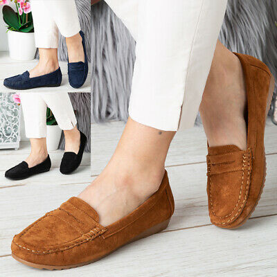 Ladies Loafers Shoes Womens Flats Pumps Comfy Office Work Slip On School Size