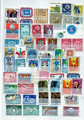 United Nation collection 55 stamps used 1950's - 70's vf