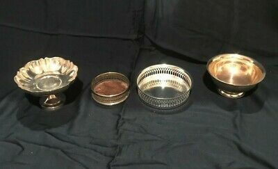 Vintage Silver Plate Lot Sliverplate Dishes Antique Bowl Dish Tray Platter Italy