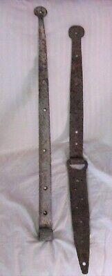 Antique Wrought Iron Barn Door Strap Hinges Hand Forged Hardware Lot  1850S
