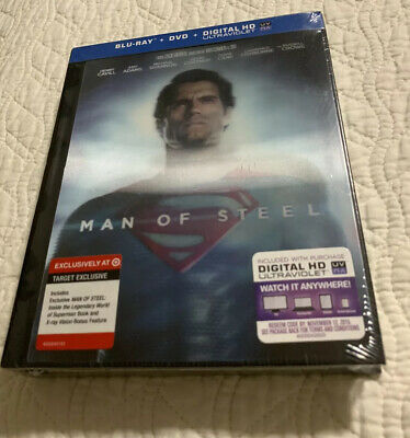 Man of Steel Target Exclusive Lenticular 3 disc Blu-ray/DVD Digibook  RARE