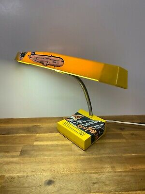 Vintage Norax Yellow Gooseneck Table Lamp With Retro Stickers Made In Australia
