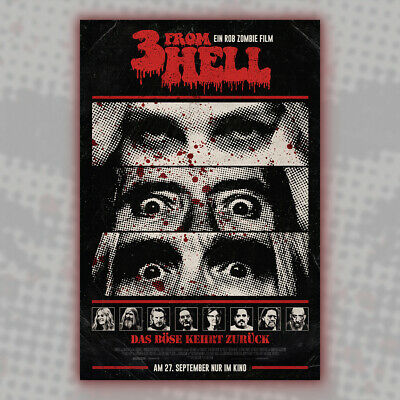 """3 From Hell Movie Poster Rob Zombie Sid Haig 12x18"""" GERMAN VERSION Horror Three"""