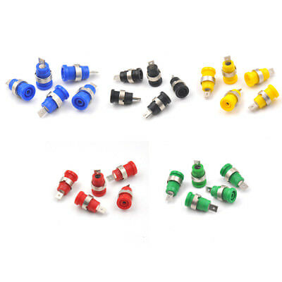 5Pcs 4mm Banana Plugs Female Jack Socket Plug Wire Connector 5 ColoES