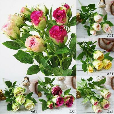 ARTIFICIAL SILK FLOWERS ROSE BUD BUNCH 6 COLOURS For Wedding Home Grave Outdoor