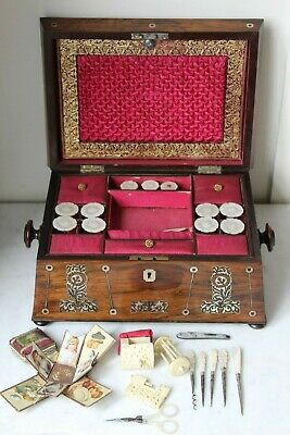 Superb Regency Rosewood & M.o.p. Inlay Fitted Sewing Box With Period Contents