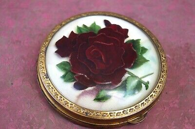 Beautiful Flowers VINTAGE ENAMEL METAL SOVIET RUSSIAN Powder Box ussr