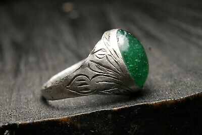 Ancient Unique Silver Green Stone Ring , Authentic Artifact, 9-11th Century AD.
