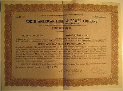 North American Light & Power Company stock certificate for Clement Studebaker Jr