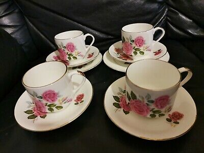 Set Of 4 Tea Cups & Saucers & 2x Small Plates Pink Roses