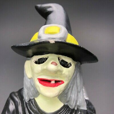 "Vintage Ceramic Halloween Green WICKED WITCH Light Cover Cauldron 9.5"" CREEPY"