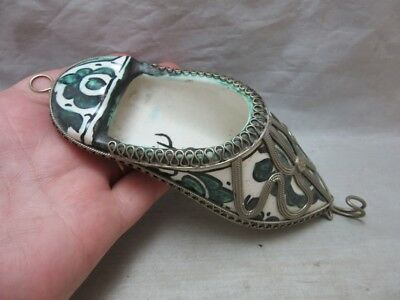 Vintage Turkish pottery shoe wall pocket with hook