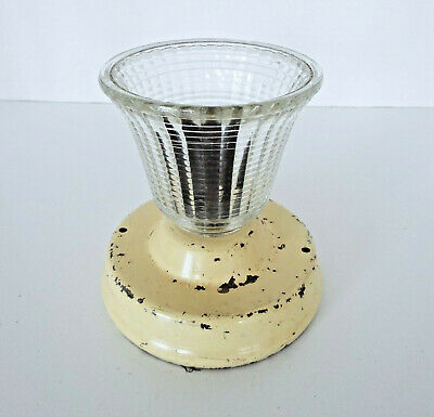 Vintage Light Fixture Mid Century Modern Clear Ribbed Glass Shade Bell Shaped