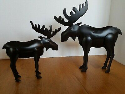 2 Metal Art Free Standing Moose Sculpture 10 1/2x 10 1/2, & 7x8