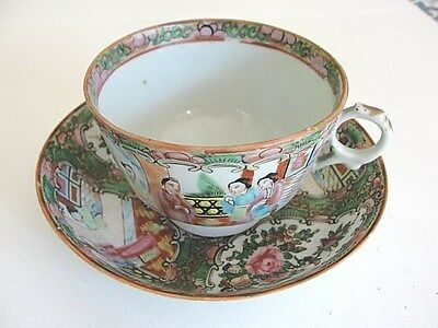Antique Chinese 19C Qing export famille rose medallion figurine cup & saucer