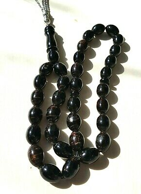 Sterling Silver Genuine Black Coral Prayer worry Beads Islamic komboloi 16X12 mm