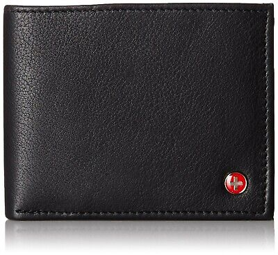 Alpine Swiss Men's Genuine Leather Wallet Slim Flip-out Bifold Black