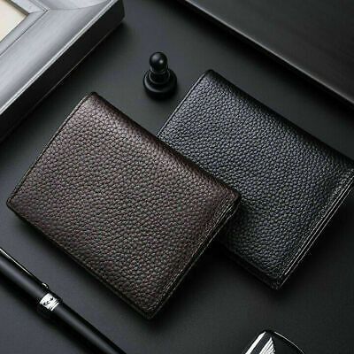 Mens Women Genuine Leather Bifold Wallet Credit Card Cowhide Small Holder Purse