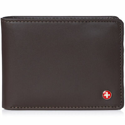 Alpine Swiss Mens RFID Safe Leather Wallet Slim Flip-out Bifold Trifold Brown