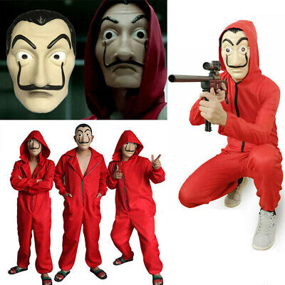 Halloween Salvador Dali La Casa De Papel Money Heist Jumpsuit+Mask Cosplay Suits