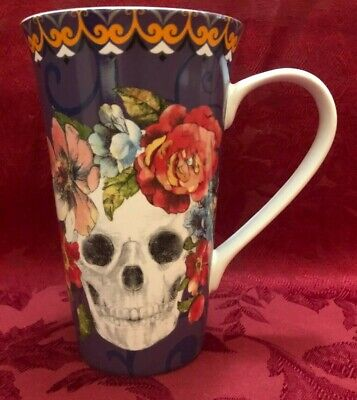 Halloween Tall Cup Mug Marbella Scull  Purple 6.5 in high New 222 Fifth  New