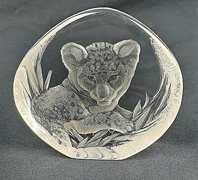 Vintage Signed Mats Jonasson Tiger Sweden Lead Crystal Art Glass Paperweight