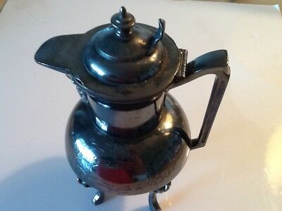 "Antique Silver Syrup Footed Pitcher Hinged Lid Engraved Small 7.5"" Patina Nice"