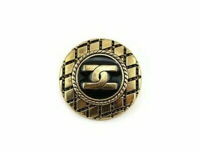 Antique gold black Chanel look button