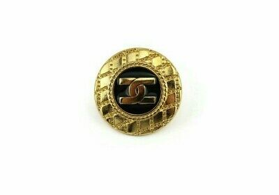 Gold black Chanel look button