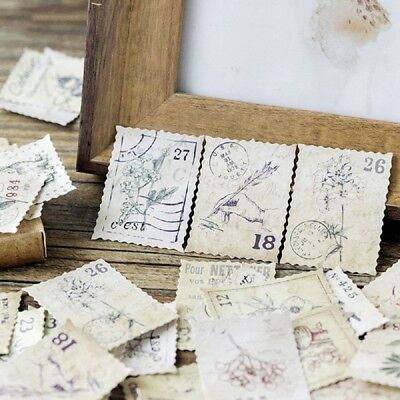 46pcs Vintage DIY Stamps Stickers Kawaii Stationery Scrapbooking Diary Stickers