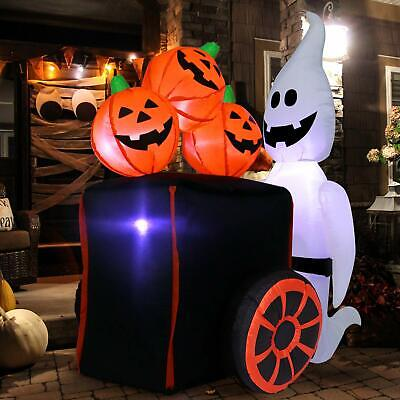 Halloween Inflatable Ghost Pushing Cart Of Pumpkins - 6 Ft Tall 4 Ft Wide Home