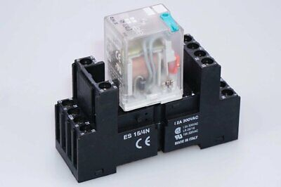 Tele RM024LD Switching Relay with Base ES15/4N 24V, 600 Ohm Miniature Relays