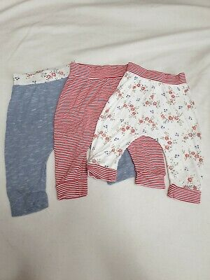 Girls Next 3 Pack Of Leggings Trousers Age 9-12 Months Red Blue White Floral