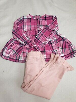 Girls Pink Check Shirt & Frill Hem Trousers Set Age 3-4 Years George F&F