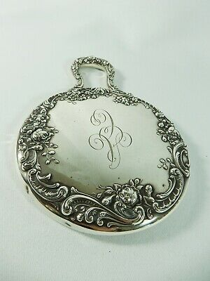 Antique Victorian 1890's Gorham Sterling Solid Silver Repousse Hand Mirror