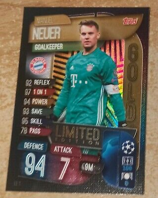 Match Attax 2019/20 Manuel Neuer Gold Limited Edition Card new