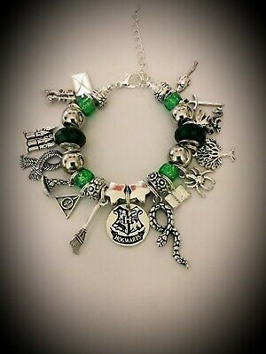 GIRLS Charm BRACELET Harry Potter Inspired Green Beads Slytherin Hogwarts Shield