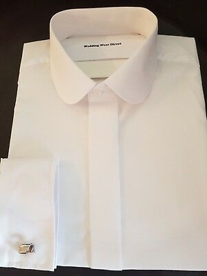 "NEW Men`s White Round Penny Collar Shirt Dual Cuff - Sizes 14.5"" - 18"""