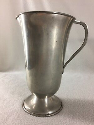 "Vintage Genuine Pewter Water Pitcher Footed 9 1/2"" Tall"