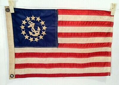 Vintage 13 Star W/ Anchor Embroidered 12 X 18 Yacht Ensign Flag LOOK & READ