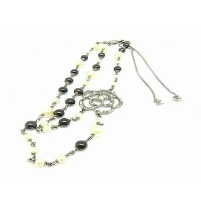 Auth Chanel CC Necklace A13P Metal Imitation Pearls Silver 2212