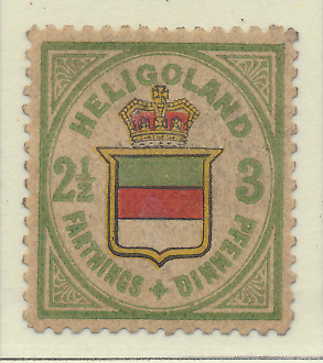 Heligoland Stamp Scott #20, Mint Heavily Hinged, Some Gum, Paper Remnants