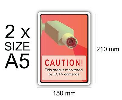 A5 Caution Area Monitored of 2 Self Adhesive Vinyl,Sign,Waterproof