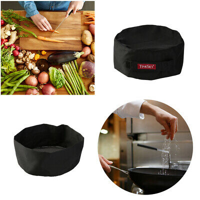 Professional Top Skull Cap Catering Chefs Hat with Adjustable Strap Black