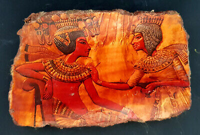 Relief Egyptian Sculpture Plaque Wall Ancient Pharaoh King Ramses and Nefertiti