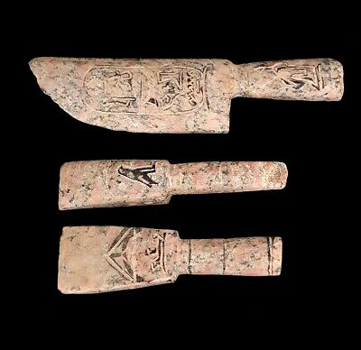Very rare Ancient Egyptian Agriculture tools Granite hieroglyphic Antique Carved