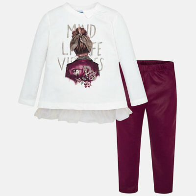 completo leggings ecopelle bordeaux shirt maglietta fiocco tulle bambina mayoral