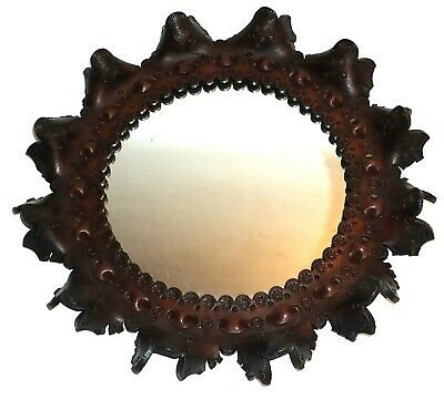 Vintage LEATHER TRIMMED MIRROR - Round - Unique Pattern - Dark Brown Leather